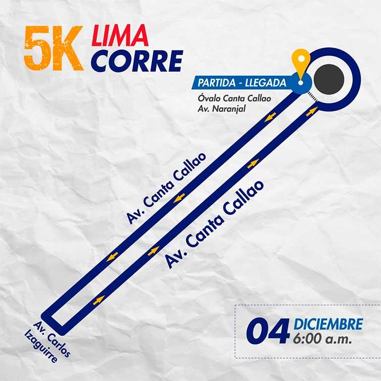 Mapa de la Ruta de la Carrera Lima Corre Con San Martín De Porres 5K 2016