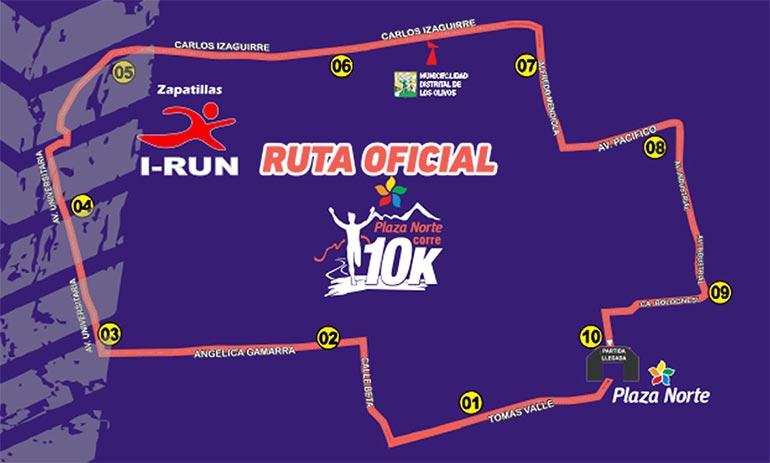 Mapa de la Ruta de la Carrera Plaza Norte 10K 2016